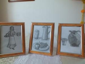 šenkýřka, zátiší s ovocem a džbánkem, hmoždíř se džbánkem - kresby tužkou