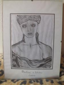 antická bohyně - kresba tužkou