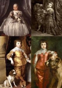král Karel II. jako dítě se svými pejsky