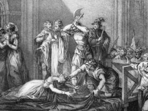 dobové vyobrazení popravy Marie Stuartovny