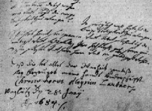 inkviziční protokol z roku 1684 s podpisem Kryštofa Aloise Lautnera