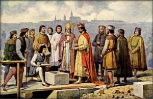 Karel IV. pokládá základní kámen Karlova (tehdy ještě Kamenného) mostu