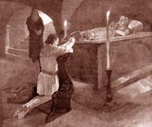 Karel u náhrobku své matky Elišky Přemyslovny
